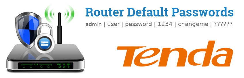 Image of a Tenda router with 'Router Default Passwords' text and the Tenda logo