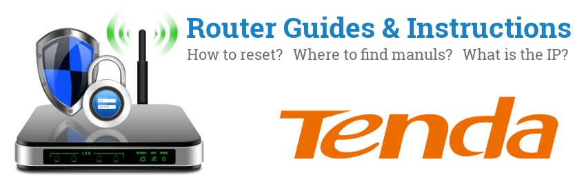 Image of a Tenda router with 'Router Reset Instructions'-text and the Tenda logo