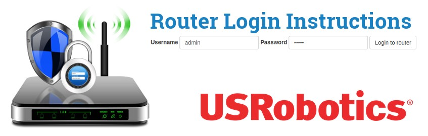 Image of a router with a login password lock and the USRobotics logo