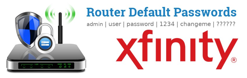 Image of a Xfinity router with 'Router Default Passwords' text and the Xfinity logo