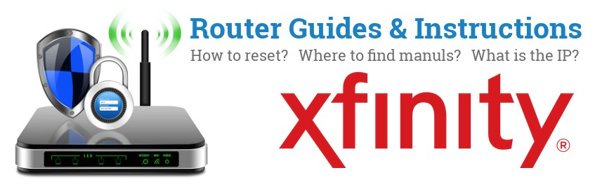 Image of a Xfinity router with 'Router Reset Instructions'-text and the Xfinity logo