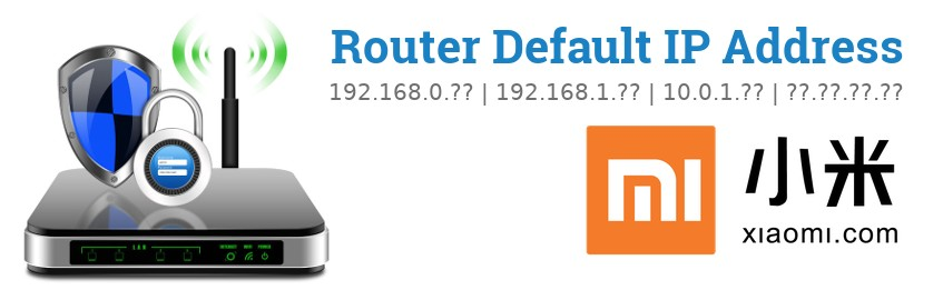 Image of a Xiaomi router with 'Router Default IP Addresses' text and the Xiaomi logo