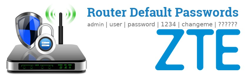 Image of a ZTE router with 'Router Default Passwords' text and the ZTE logo