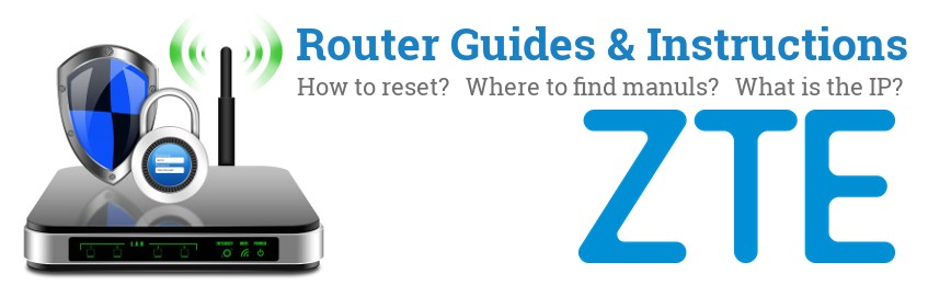 Image of a ZTE router with 'Router Reset Instructions'-text and the ZTE logo
