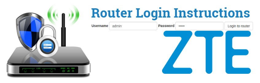 Image of a router with a login password lock and the ZTE logo