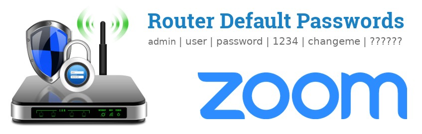 Image of a Zoom router with 'Router Default Passwords' text and the Zoom logo