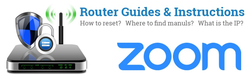 Image of a Zoom router with 'Router Reset Instructions'-text and the Zoom logo