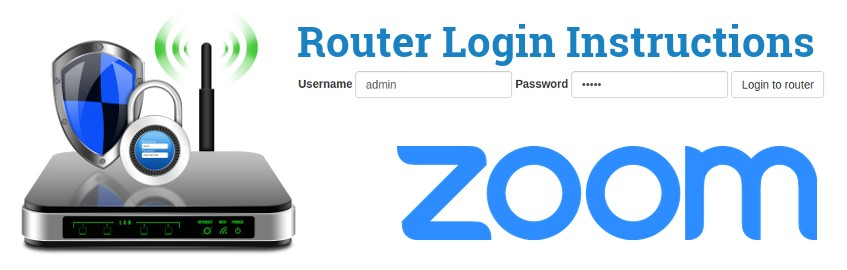 Image of a router with a login password lock and the Zoom logo