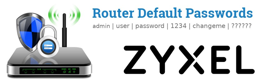 Image of a ZyXEL router with 'Router Default Passwords' text and the ZyXEL logo