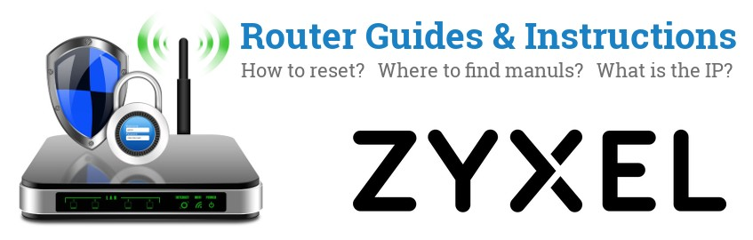 Image of a ZyXEL router with 'Router Reset Instructions'-text and the ZyXEL logo