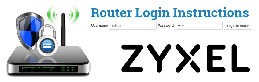 Image of a router with a login password lock and the ZyXEL logo