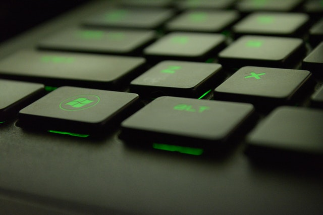 green-lighted keyboard
