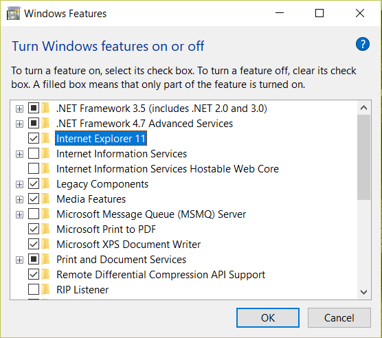 Turn windows features on or off window