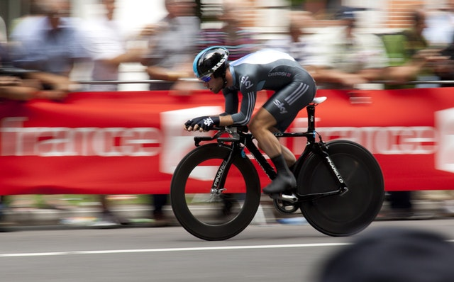 A fast cyclist during an actual race