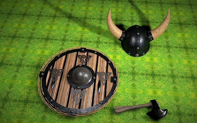 Viking shield, ax and helmet