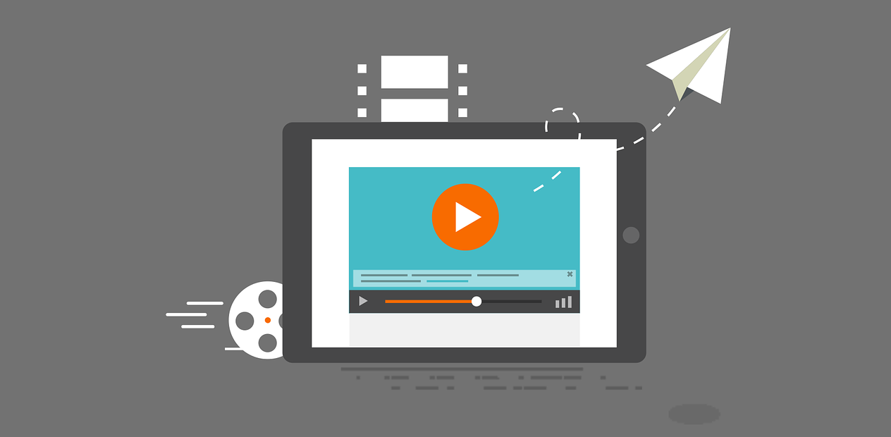 A vector image of tablet streaming a youtube video
